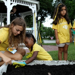 Students Work Together in the Garden