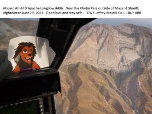 Leo's helicopter ride over Afghanistan.