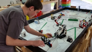 A student works after school with the EV3 robot.