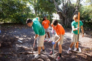 Students clear the land for the footprint of the greenhouse.